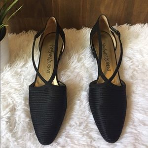 Yves Saint Laurent Black Almond Toe Low Heels
